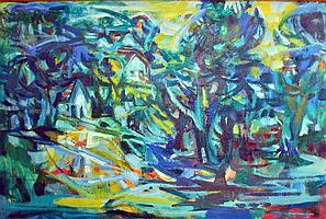 János Bizse (Hungarian, 1920 - 1981): Green ladscape