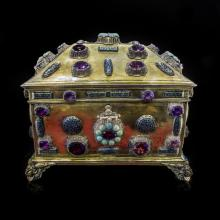 Gold plated silver jewellery box with amethyst and turquise