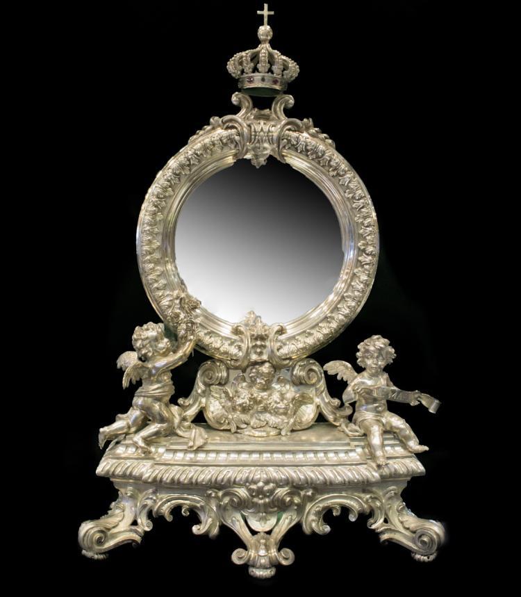 Antique silver catholic ornament