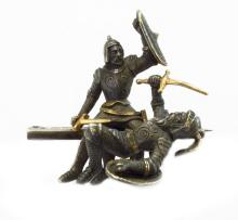 Silver medieval knight figure
