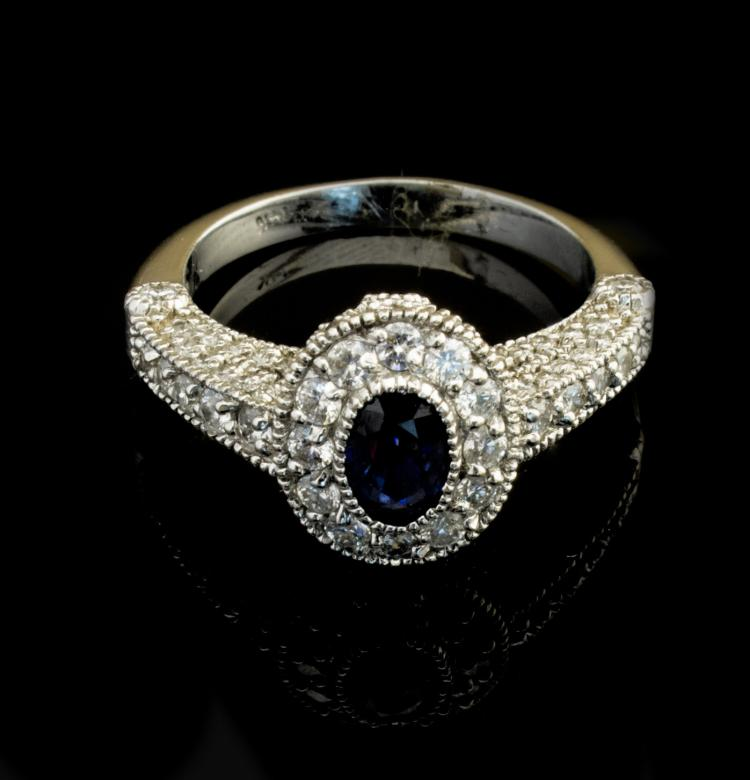 14K white gold diamond ring with sapphire