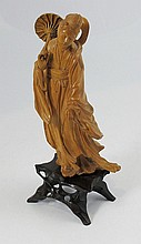 Japanese carved wood figure of a gesha