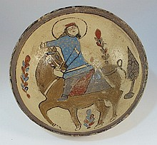 Persian ceramic bowl with rider in a blue coat