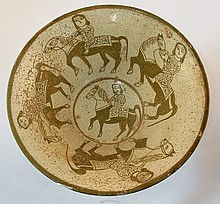 Persian ceramic bowl with five riders