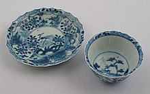 Chinese blue and white porcelain tea cup and saucer