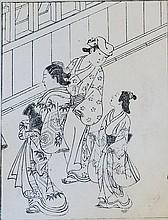 Japanese woodblock print - Sukenobu Nishikawa (1671 - 1751): Geishas