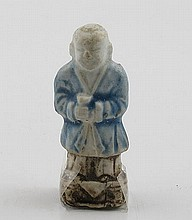 Chinese blue and white porcelain model of a man