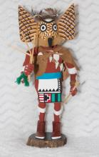 Hopi ?Monqua? Great Horned Owl Kachina on ironwood slab.