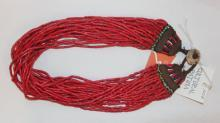 Glass Bead Necklace : Naga Heavy Red Multi-strand Glass Bead Necklace, with Macrame Closure