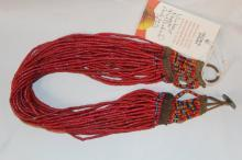 Glass Bead Necklace : Authentic Naga Heavy Red Multi-strand Glass Bead Necklace, with Macrame Closure