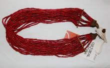 Glass Bead Necklace : Naga Small Red Multi-strand Glass Bead Necklace, with Macrame and Shell Closure