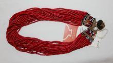 Glass Bead Necklace : Naga Medium Red Multi-strand Glass Bead Necklace, with Macrame Closure and Old Coin