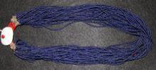 Vintage Long Necklace : Authentic Vintage Naga Long Dark Blue Glass Bead Necklace