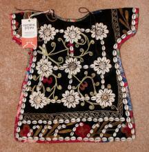 Nomadic Turkmen Cherjew Child's Ceremonial Garment Adorned with Cowrie Shells