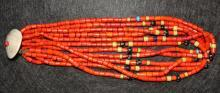 Vintage Necklace : Authentic Vintage Konyak Large Orange Tile Bead Necklace from Nagaland, NE India