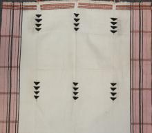 Antique Wall Hanging : Authentic Rongmei Naga Man?s White Background with Embroidered ?Birds? Design Body Cloth