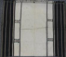 Textiles : Authentic Angami Man/Woman?s Body Cloth with Empty White Background and Woven with Embroidered Patches on Borders