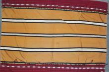 Tribal : Authentic Zemi Naga Tribe Man?s Dark Mustard Body Cloth with Double Sided Weave