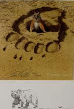 Bear Art : Bev Doolittle, Bear and Chipmunk,