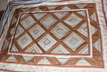 Silk Bed Spread : Handmade Vintage Custom Designed Queen Sized Thai Silk Bed Spread in Homong Pattern, From Chiang Mai, Thailand