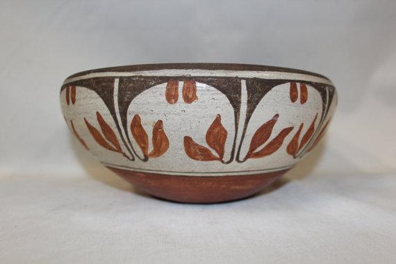 Pottery Bowl : Excellent Vintage Zia Polychrome Floral Pottery Bowl #266