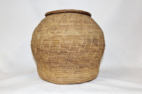Lidded Basket : Vintage Rare Handmade Omani Bedouin Lidded Basket, #875
