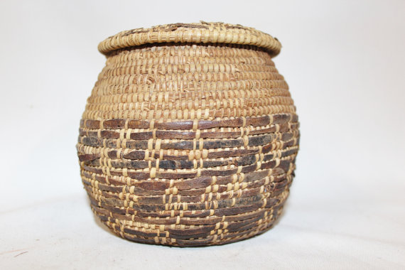 Antique Basket : Vintage Rare Handmade Omani Bedouin Lidded Basket, Interlaced with Leather, Having Lizard Skin on Top and Bottom, #876