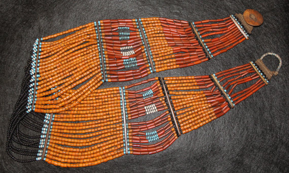 India Clothing : Vintage Konyak Naga Beaded Belt/Sash from North East India #539