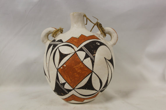Vintage Pottery : Very Nice Vintage Acoma Polychrome Pottery Canteen by Elizabeth Garcia #279