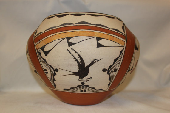 Zia Pottery : Beautiful Zia Four Color Pottery Olla by Kathy Pino #275