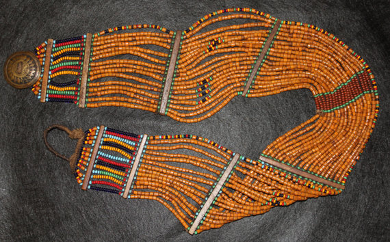 Naga Beads : Vintage Konyak Naga Beaded Belt/Sash from North East India #542