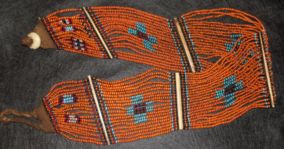 India : Vintage Konyak Naga Beaded Belt/Sash from North East India #540