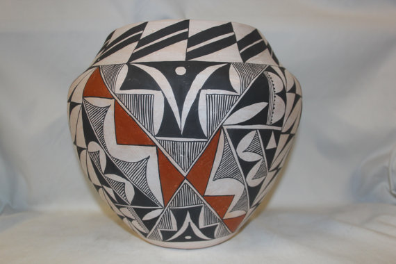 Vintage Pottery : Exceptional Vintage Acoma Polychrome Pottery Olla #276
