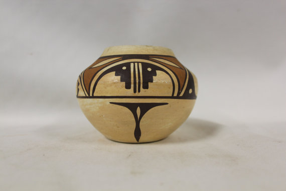 Native American Pottery : Isleta Polychrome Pottery Jar with Hopi Design by Stella Teller #271