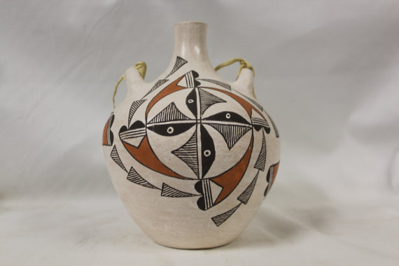 Acoma Pottery : Exceptional Vintage Acoma Polychrme Pottery Canteen #272