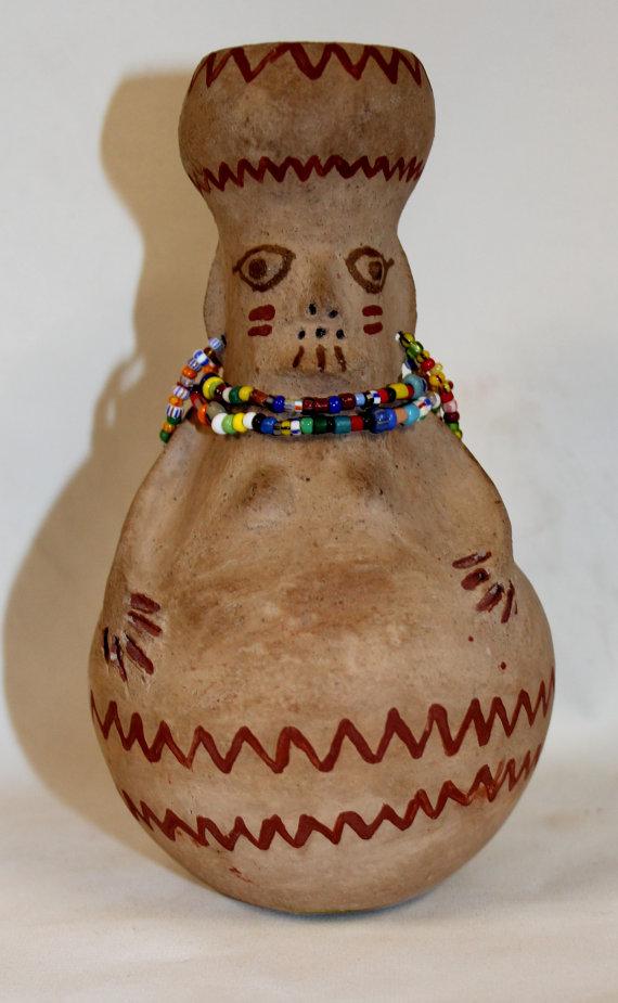 Native American Pottery, Maricopa Pottery Effigy Vase, by Theroline Bread, Ca 1980's, #916