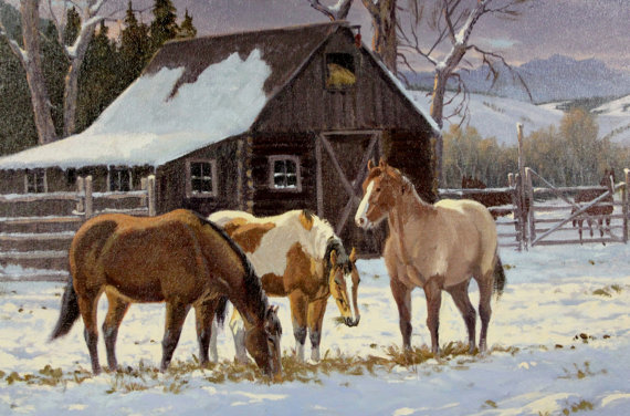 Western Artist: Ron Stewart, *Winter Stable*, Oil Painting on Canvas, Signed Lower Left Hand Corner, #748