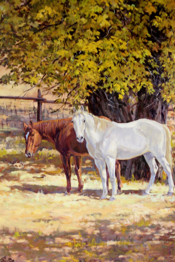 Western Artist: Ron Stewart, *Autumn Buddies*, Oil Painting, Signed Lower Left Hand Corner, # 747