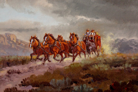 Western Artist: Ron Stewart, *Stage Coach*, Oil Painting, Signed Lower Left Hand Corner, #749