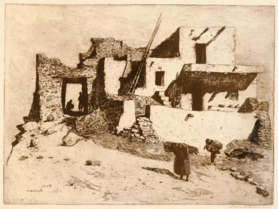Western Art: Fine Art Etching, Edward Borein (1872-1945) Etching, *Last House Walpi*, #755