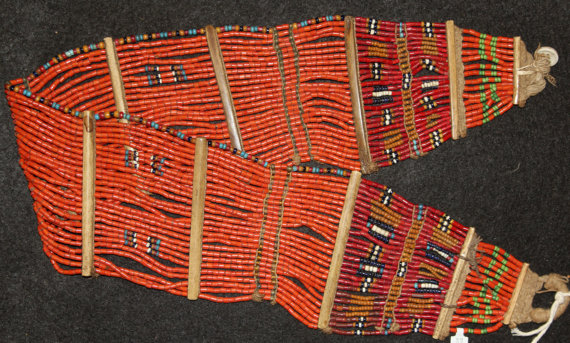 Bead Belt : Authenic Naga Konyak Woman*s Orange Bead Belt #611