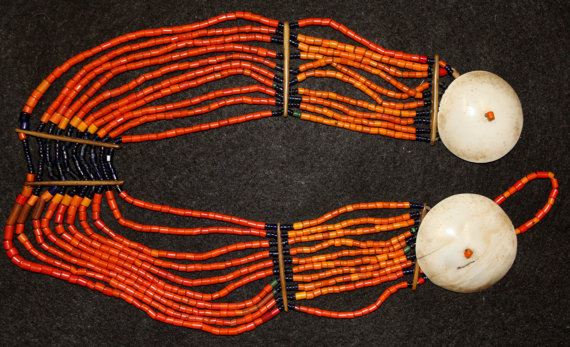 Beads : Authentic Konyak Naga Small Orange Tile Bead Collar with Disc Shells #608
