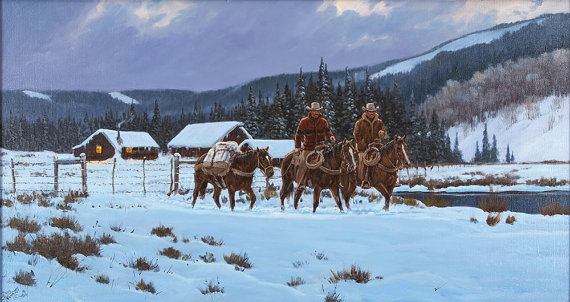Western Artist: Ron Stewart, *Breaking Light*, Oil Painting on Canvas, Signed Lower Left Hand Corner, #744