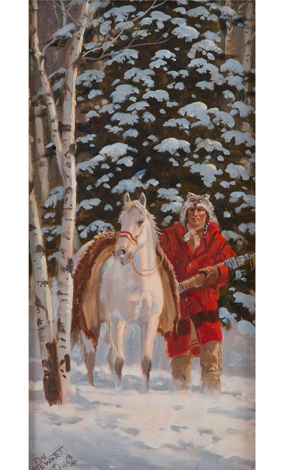 Western Artist: Ron Stewart, *Silent Suspecion*, Oil Painting on Board, Signed lower left hand corner. #741