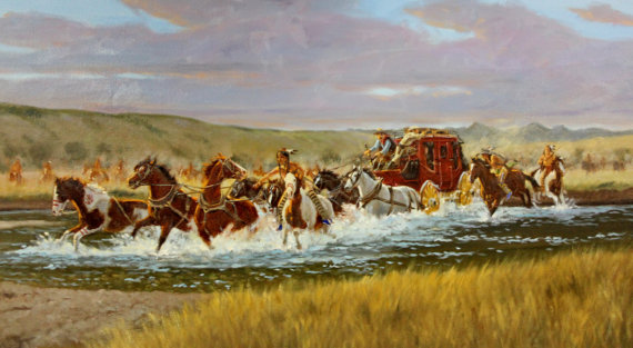 Western Artist: Ron Stewart, *Grabbing For The Leader*, Oil Painting, #738