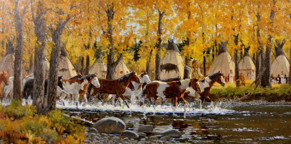 Western Artist: Ron Stewart, *Ponies of Autumn*, Oil Painting, #736