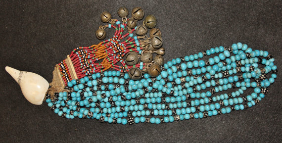 Nagaland : Authentic Konyak Naga Chief*s Blue Padre Bead Necklace with Shells and Bells #604