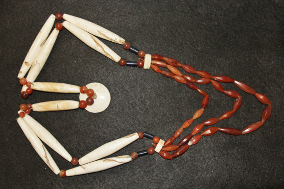 Naga : Authentic Ao Naga Warrior Shell and Carnelian Necklace #602