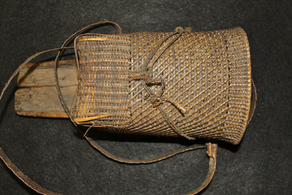 Naga : Authentic Naga Dao Holder Made from Wood and Rattan with a Small Side Basket #578
