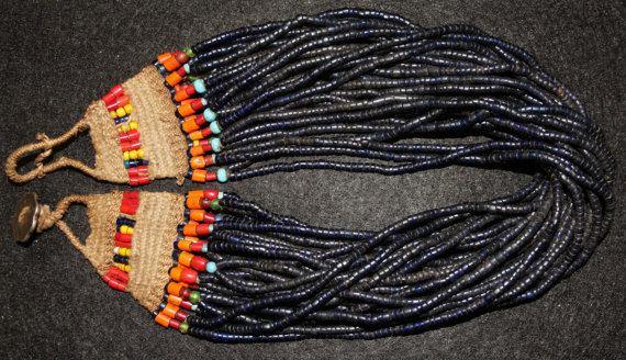 Nagaland : Authenic Vintage Naga Short Cobalt Blue Glass Bead Necklace with Beaded Macrame #574